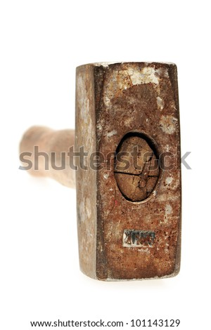 old sledge hammer with wooden handle on a white background