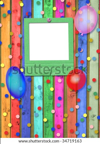Old slide with balloons and confetti on the abstract background