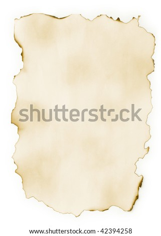 Old slightly burnt sheet of paper isolated on a white background