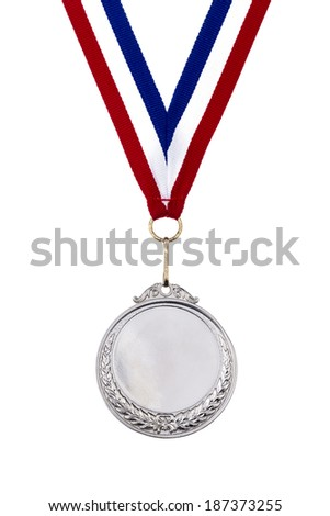 Old sliver medal isolated on white background