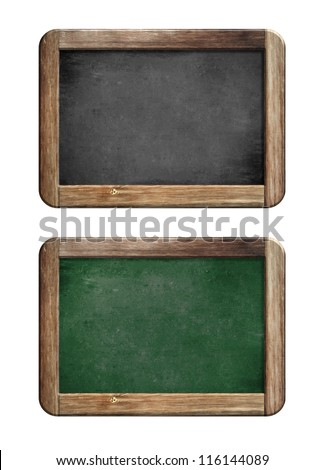old small blackboards set with wooden frame - stock photo