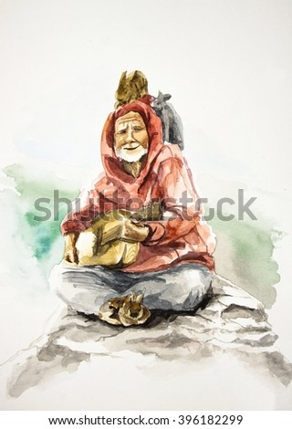 Old smiling bard playing on guitar and sittng on mountain with rabbits, watercolor illustration - stock photo