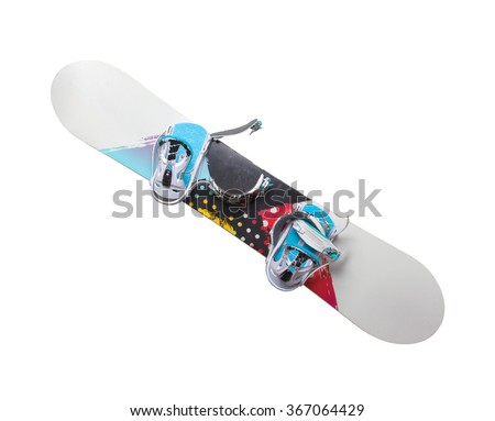 Old snowboard isolated on a white backrgound - stock photo