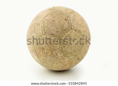 old soccer ball isolated on a white background