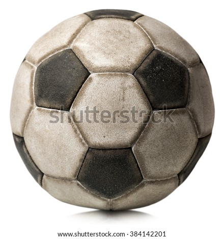 Old Soccer Ball Isolated on White / Detail of a old black and white soccer ball isolated on white background - stock photo