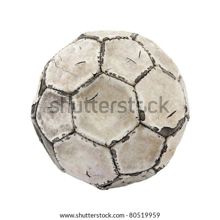Old soccer ball with clipping path - stock photo