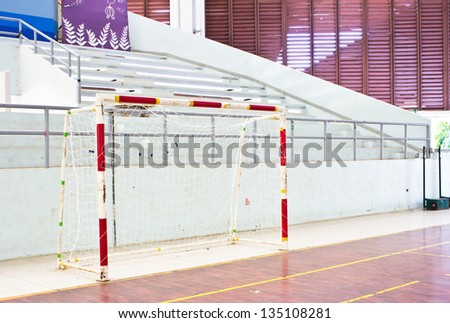 Old soccer goal indoor in the stadium