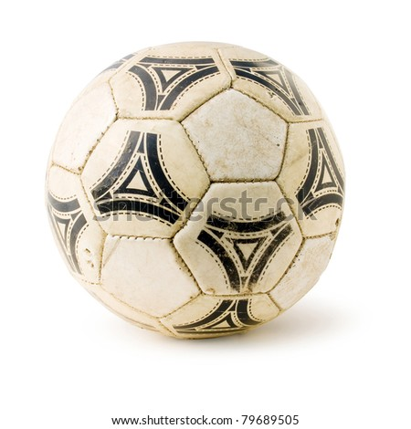 Old soccerball on white background (isolated with clipping path). - stock photo