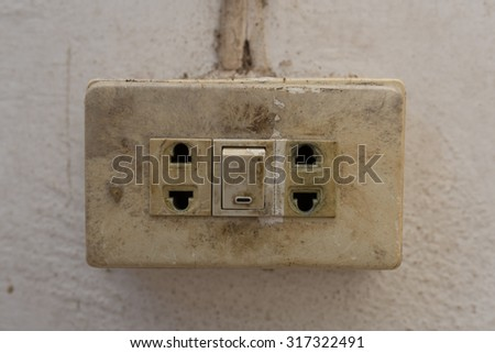 Old socket, electrical outlet. Close-up - stock photo