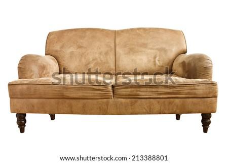 old sofa on white background - stock photo