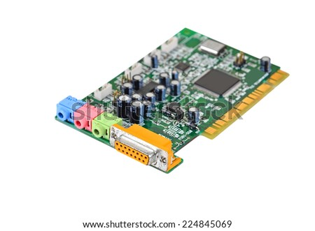 Old sound card for computer, isolated on white background