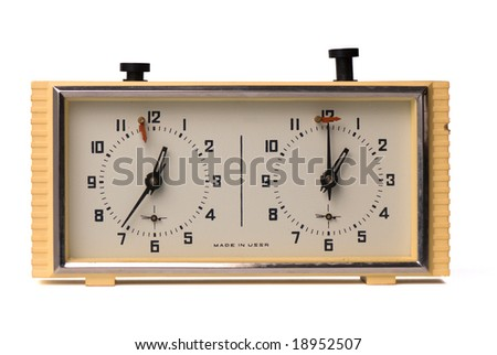 Old soviet chess-clock isolated on white background - stock photo