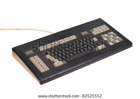 Old soviet computer keyboard isolated on white background