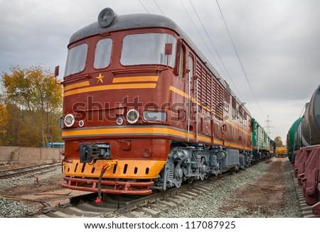 Old soviet diesel locomotive - stock photo
