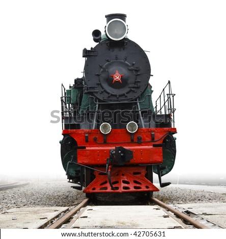 Old Soviet locomotive - stock photo