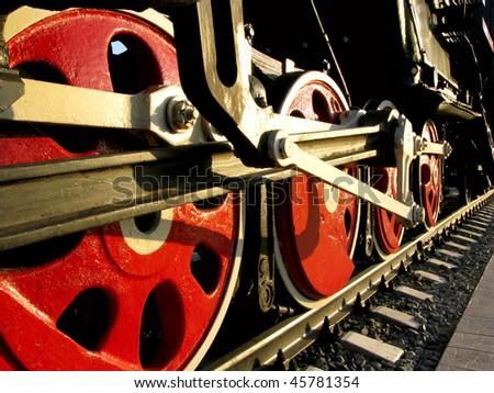 old Soviet locomotive of 40 years - stock photo