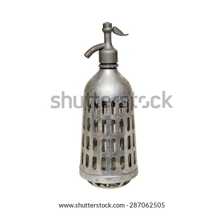old Soviet metallic siphon on white background. retro, vintage  - stock photo