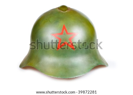 Old soviet military helmets  isolated on  a white background - stock photo