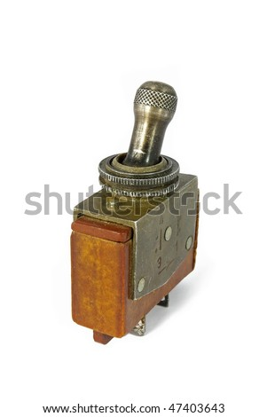 Old soviet military toggle switch isolated on white background - stock photo