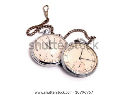 Old soviet pocket watch covered with rust and dust isolated on white background