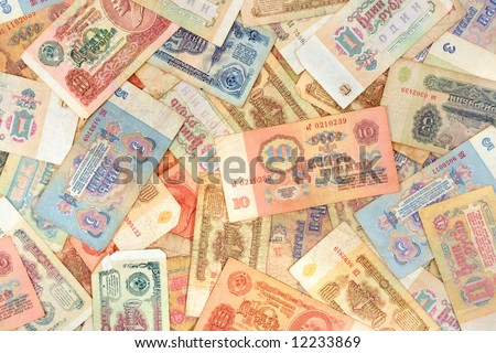 Old soviet russian currency, abstract money background