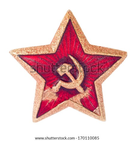 Old soviet star isolated on white background - stock photo