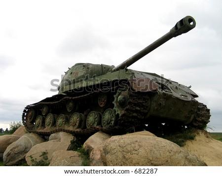 Old Soviet tank (WWII) - stock photo
