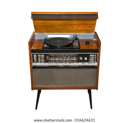 old Soviet turntable, radio. retro, fashion. hinged lid. top view. isolated - stock photo