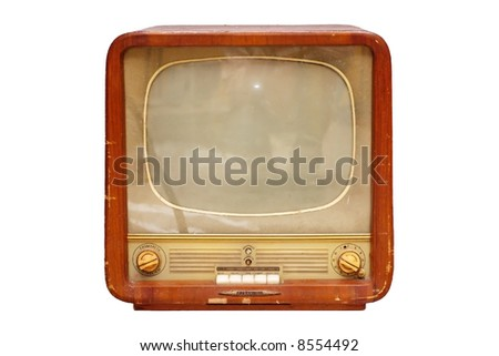Old soviet tv set isolated over white - stock photo