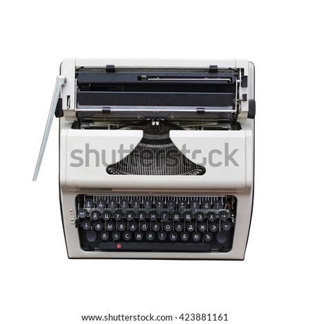 old soviet typewriter isolated on white, view from above