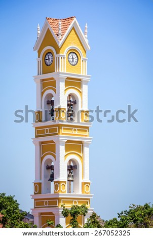 Old Spanish bell tower near Playa del Carmen, Mexico - stock photo