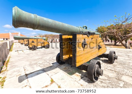 Old spanish cannon is a fortress in Havana in a beautiful summer day