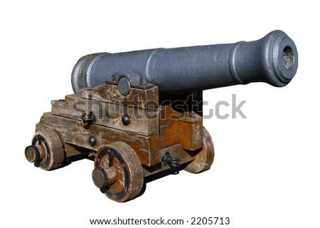 Old spanish cannon isolated on white - stock photo