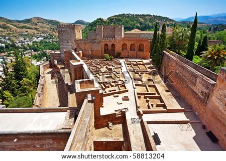 Old Spanish castle in Granada. Alhambra. Spain - stock photo
