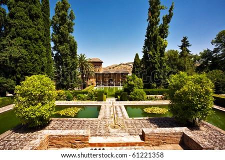 Old Spanish castle in Granada. Spain - stock photo