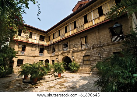 Old Spanish  Filipino Ancestral House or Mansion Courtyard - stock photo