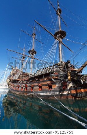old Spanish galleon moored in Genova harbor, Italy - stock photo