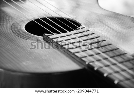 Old Spanish Guitar In Black And White