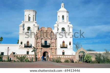 Old spanish mission in southern Arizona - stock photo