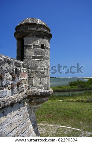 Old Spanish Watchtower at Fort Matanzas National Monument, St. Augustine, Florida - stock photo