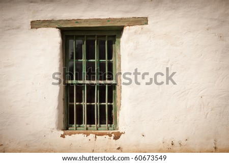 Old Spanish Window and Wall Abstract Image. - stock photo