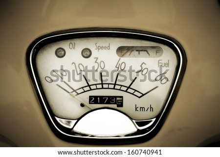 old speed odometer - stock photo