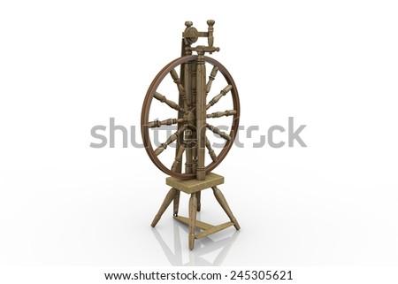Old Spinning Wheel - stock photo