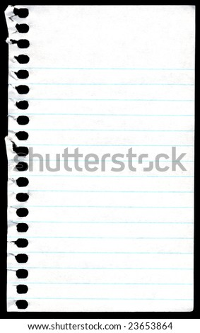 Old spiral notebook paper