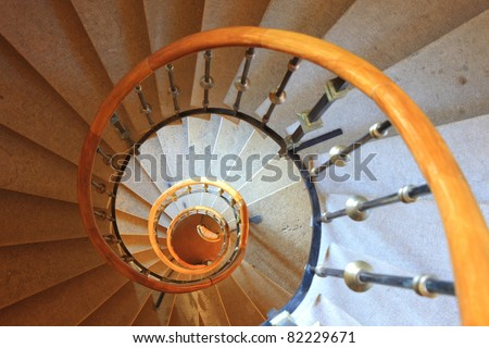 old spiral stair view from top - stock photo