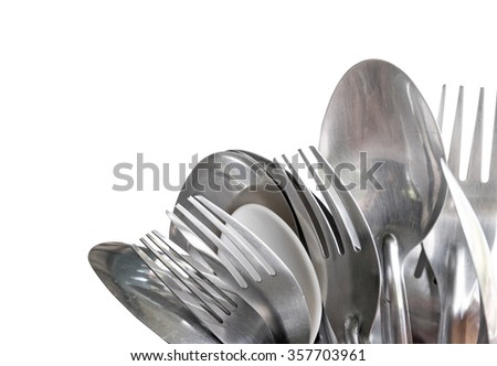 Old spoon and fork. Silverware spoon and fork. Clipping path spoon and fork. Spoon and fork set. Spoon and fork on white background. Spoon and fork isolated. Cookware isolated. Retro spoon and fork. - stock photo