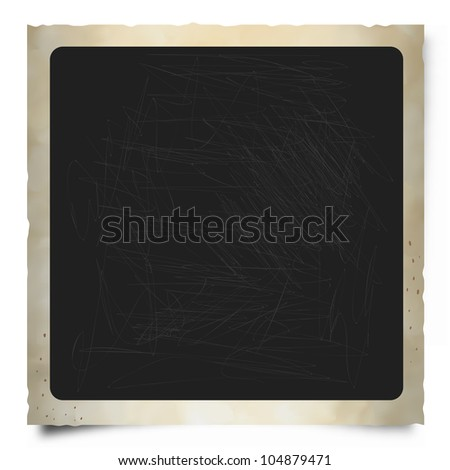 Old Square Instant Photo Frame with Rounded Edges. - stock photo