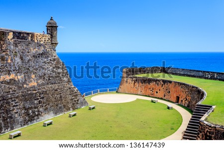 Old St Juan Puerto Rico, blue sky and ocean, old castle - stock photo