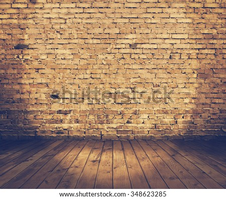 old stage with brick wall, vintage background, retro film filtered, instagram style - stock photo