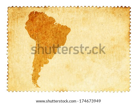Old stain mark of a South America continent map on a vintage brown postage stamp.  - stock photo